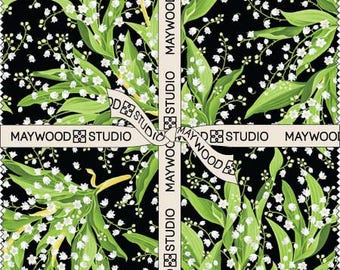 Greenery 5-Inch Squares Charm Pack, 42 Pieces, Maywood Studio Collection, Precut Fabric, Quilt Fabric, Cotton Fabric, Floral Fabric