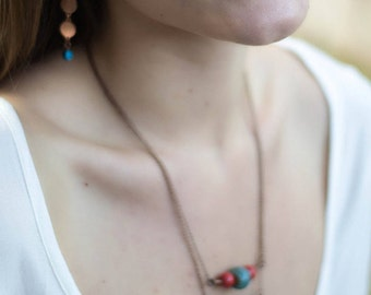Choose Cobalt Blue or Green & Red Necklace Chunky Handmade Jewelry San Diego California USA