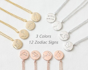 12 Zodiac Signs Necklace, Constellation Necklace, Dainty Necklace, Delicate Necklace, Round Charm Necklace, Zodiac Jewelry, Bridesmaid Gift