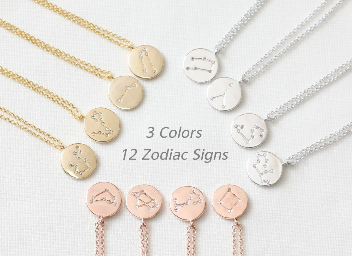 12 Zodiac Signs Necklace Constellation Necklace Dainty