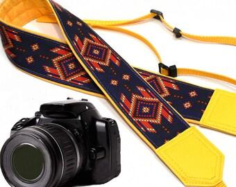 Native American (inspired) Camera strap.  Southwestern Ethnic Camera strap.  DSLR / SLR Camera Strap. Camera accessories.