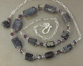 "RARE purple ancient Roman glass and Swarovski crystal sterling adjustable 17"" to 20"" necklace FREE SHIPPING ooak"