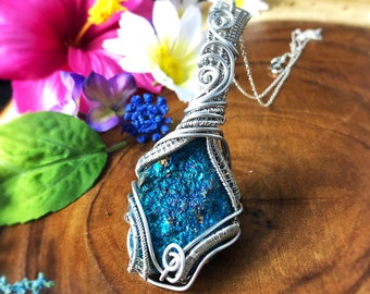 Aura Clearing: Peacock Ore Wire Wrapped Healing Crystal, chakra clearing, meditation tool, brings positive thinking