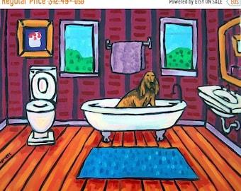 25% off Bloodhound Taking a Bath Dog Art Print   JSCHMETZ modern abstract folk pop art gift