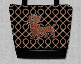 Dachshund Purse - Appliqued with Flirty Dachshund Handbag - Wiener Dog  - Purse - Shoulder Bag - Made to Order