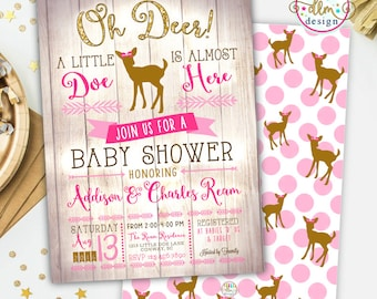Oh Deer Baby Shower, Printable Invite, Deer Baby Shower Invite, Baby Girl Invite, Woodland Baby Shower, Little Doe on the Way, Little Deer