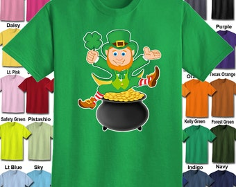Leprechaun sitting on a pot of Gold T-Shirt - Adult Unisex - We carry sizes S - 5XL in 30 Colors!