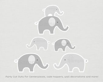 Cute Elephant Cut Outs / Elephant Baby Shower / Chevron Pattern / Grey & White / Baby Shower Decorations / Printable INSTANT DOWNLOAD A144