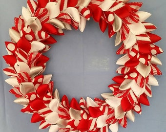 Ribbon Wreath - Red White and Silver