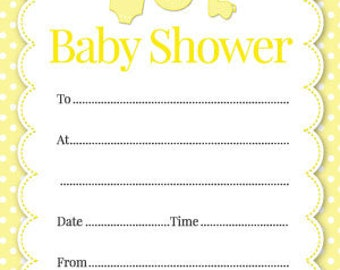 Baby Shower Invitations - Pack Of 16 - Available In 4 Different Colours (Yellow, Pink, Blue, Green) (With Envelopes)