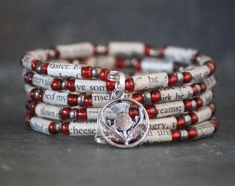 Outlander - Diana Gabaldon - thistle bracelet - recycled book - book art - Clan Fraser - Jamie Fraser - sci-fi - gift - bracelet