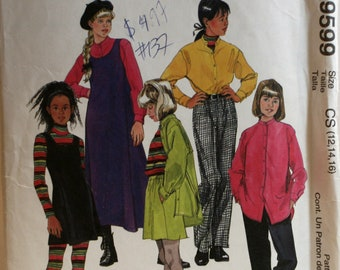 Girls Jumper Sewing Pattern - Girls Pants Sewing Pattern - Girls Skirt Sewing Pattern - McCalls 9599 - New - Uncut - Size 12 - 14 - 16