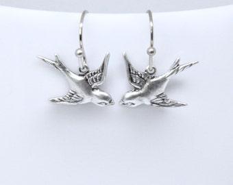 Simple Bird Earrings, Antique Silver Bird Earrings, Lovebird Earrings, Flying Bird Earrings, Sparrow, Swallow, Woodland, Silver or Brass