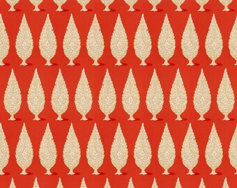 DESIGNER ETHNIC CHIC Mediterranean Style Topiary Cotton  Fabric 10 Yards Persimmons