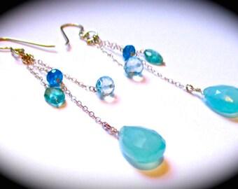 Aqua Chalcedony, Neon Apatite and Blue Quartz Gemstones Dangling Earrings