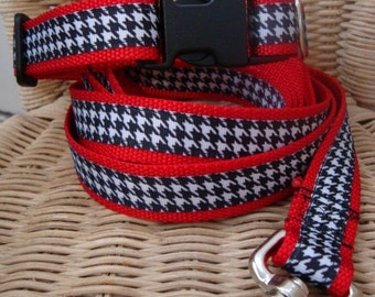 Red and Houndstooth Leash and Collar Set