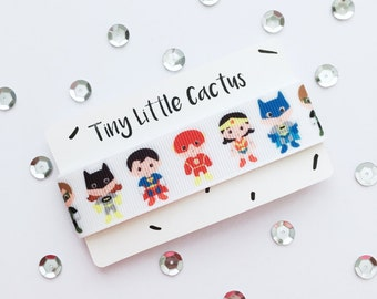 Ribbon with superheroes, polyester, printed one-sided (Single Face), 2.2 cm wide (wide)