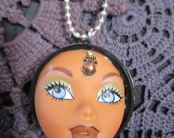 Bratz doll,  Altered art. Upcycled barbie. Necklace.