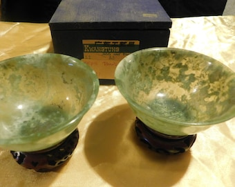 Nephrite Green Bowls with wooden stands and cushioned box