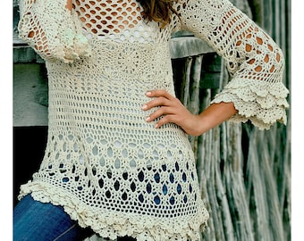 Crochet tunic PATTERN for sizes S-2XL, detailed tutorial in ENGLISH (every row), beach crochet tunic PATTERN, designer crochet tunic pattern