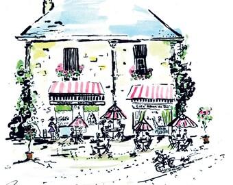 French Cafe, Paris,  Original pen and ink/watercolorprint
