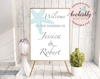 Beach Wedding Welcome Sign, Bridal Shower Sign, Printable Wedding Sign, Aqua Starfish Personalized PDF by Bookishly Ever After BEA02ws