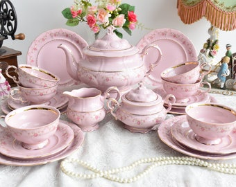 Vintage tea set porcelain tea set  vintage tea set for six tea cup set porcelain teacup set pink porcelain teaset coffee