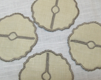 Wine Glass Stem Coasters Fabric Stemware Set Beige Cloth Vintage Set 4 - #2232