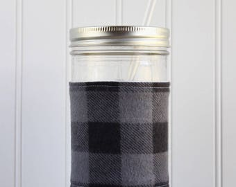 Gray & Black Buffalo Check Flannel Mason Jar Sleeve - for PINT AND A HALF Mason Jar (24 oz)
