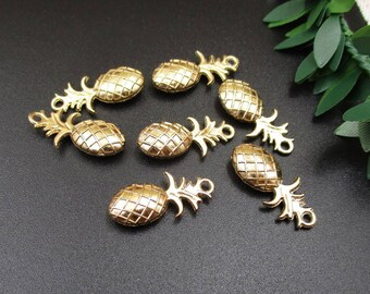 10Pcs 23×10mm Gold Pineapple Charms 2 Sided-p1131-C