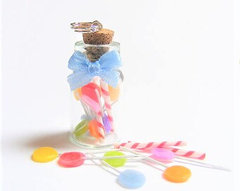 Food Jewelry Candy Jar Necklace, Miniature Bottle Necklace, Sweetie Jar Necklace, Lollipop Pendant, Miniature Food, Mini Food Jewelry Kawaii