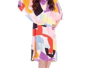Vintage Marimekko Silk Blend Tent Dress & Cape Jacket 44/M Abstract Letter Print