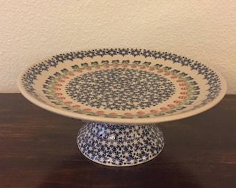 Polish Pottery Pedestal Cake Plate / Serving Dish
