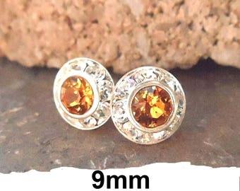 9mm Topaz Studs, Topaz Silver Earrings, Swarovski, Rhinestone Stud Earrings, Crystal Studs, November Birthstone Studs