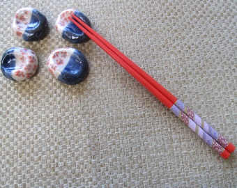 Chopstick rests, set of 4, handpainted and glazed