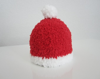 Christmas baby hat, Santa baby hat, xmas baby hat, red hat with pompom, first xmas hat, baby first xmas, gift first xmas,  Santas hat