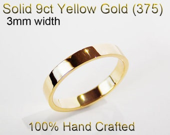 9ct 375 Solid Yellow Gold Ring Wedding Engagement Friendship Friend Flat Band 3mm