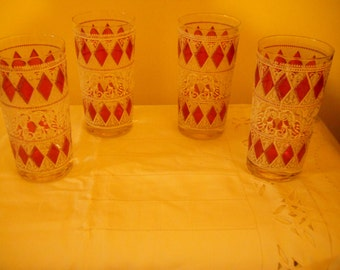 Vintage Mid-Century Bar Glasses - Pink Diamond Design Set of 4