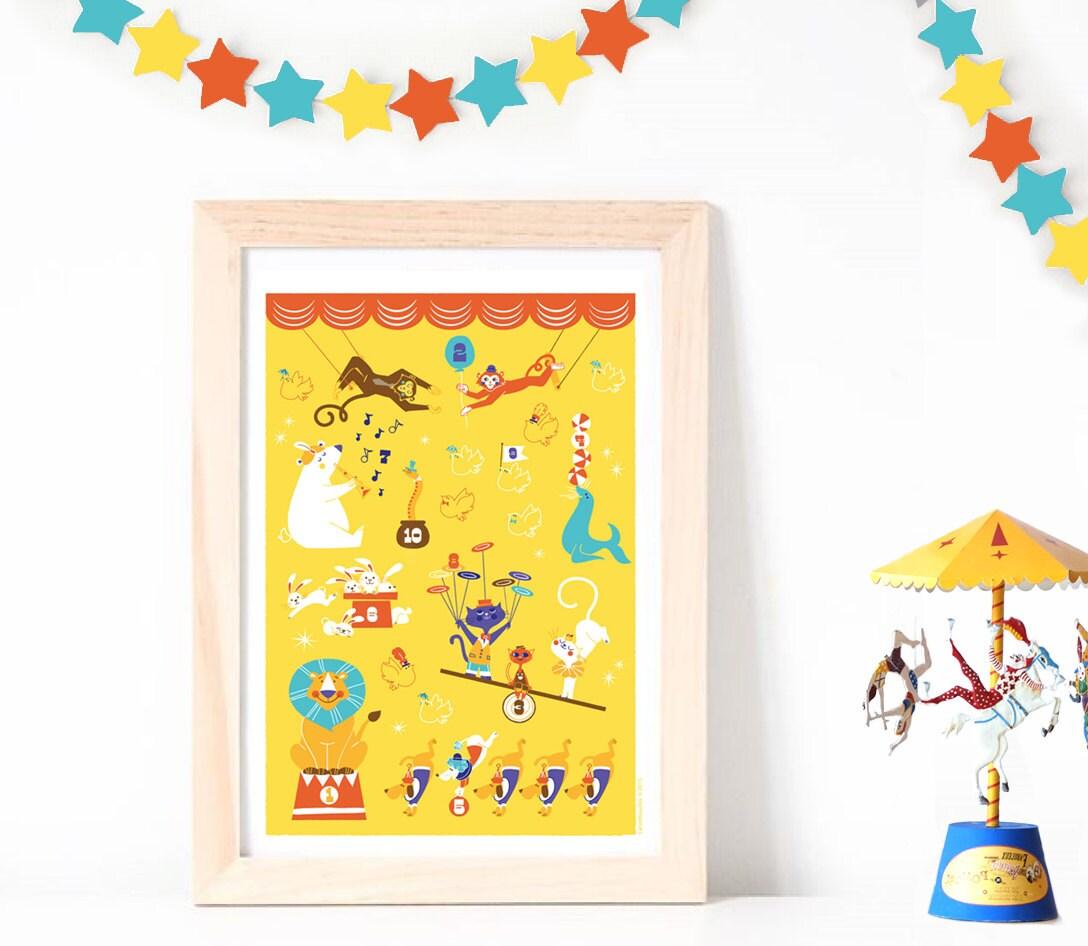 Wall Art Poster Circus Animals Numbers Playroom print