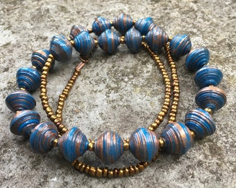 Blue and bronze paper bead necklace
