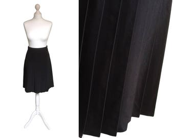 Black Skirt | 90's Skirt | Pleated Skirt | Faux Silk | Everyday Work Skirt