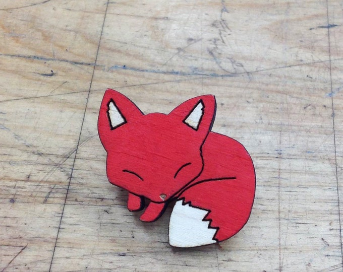 Hand Painted Sleeping Fox Pin | Laser Cut Jewelry | Wood Accessories