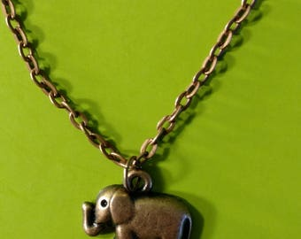 Small Copper Elephant Necklace
