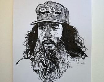 Bearded Forrest Gump - Original Pen Drawing