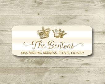 King and Queen Crowns, Ivory & White Stripes, Gold, Return Address Label, Personalized, MATTE, Royal, Celebration, Shower, Birthday
