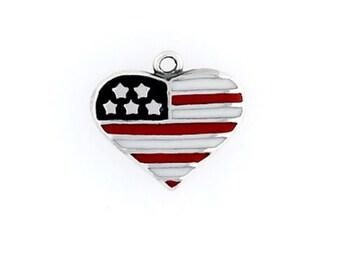 Sterling Silver American Flag Heart Charm, Choice Earrings