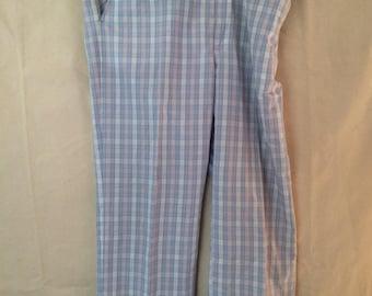 1970s Disco Pants - 34x28 39x28 Adjustible - Plaid - Blue White Pink - Hamilton House