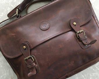 Brown Leather Attache Vintage Messenger Bag Briefcase
