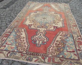 faded turkish rug , runner rug vintage rug, rug wool carpet, 205