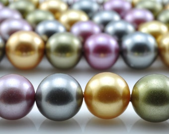 48 pcs of mixed color  Shell Pearl  smoothround beads in 8mm